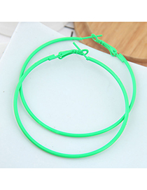 Green Metal Fluorescent Color Ring Earrings
