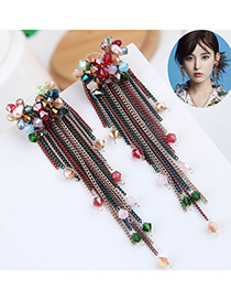 Color Crystal Tassel Earrings