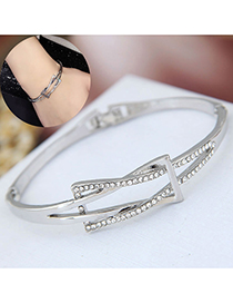 Fashion Silver Flash Drill Knotted Bracelet