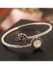 Fashion Gold Gemstone Open Bracelet