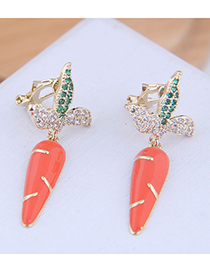Fashion Gold Copper Micro-inlaid Zircon Radish Ear Clip