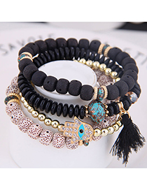 Fashion Black Metal Flash Diamond Eyebrow Beads Multi-layer Bracelet