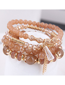 Fashion Champagne Crystal Beads Multilayer Bracelet