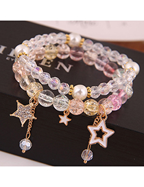 Fashion Gold Popcorn Crystal Glass Beads Double Bracelet