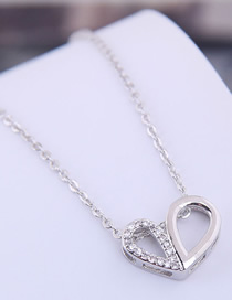 Fashion Silver Copper Micro Inlaid Double Heart Necklace