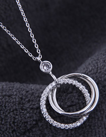 Fashion Silver Copper Micro Inlaid Zircon Multi-ring Necklace