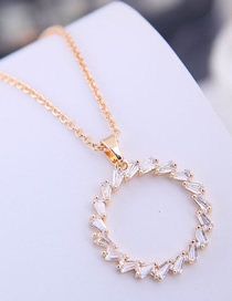 Fashion Gold Copper Micro Inlaid Zircon Ring Necklace