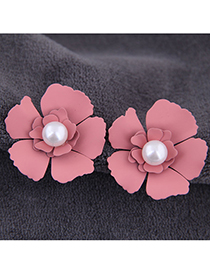 Fashion Pink Metal Flower Earrings