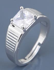 Fashion Silver Inlaid Zircon Men's Ring
