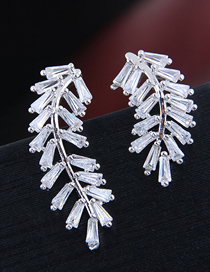 Fashion Silver 925 Silver Needle Copper Micro-inlaid Zircon Foliage Asymmetric Earrings