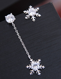 Fashion Silver 925 Silver Needle Copper Micro-inlaid Zircon Snowflake Asymmetric Stud Earrings