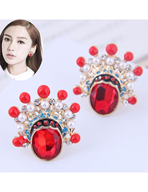 Fashion Red Metal Beijing Opera Flower Face Stud Earrings