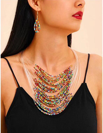 Fashion Color Rice Beads Multi-layer Necklace Earrings Set