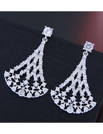 Fashion Silver Copper Micro Inlaid Zircon Fan Earrings