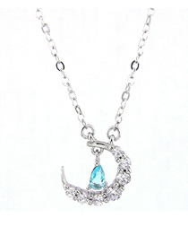 Fashion Silver Copper Plated Gold Zircon Crescent Moon Necklace