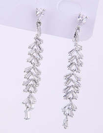 Fashion Silver Copper Micro-inlaid Zircon Earrings