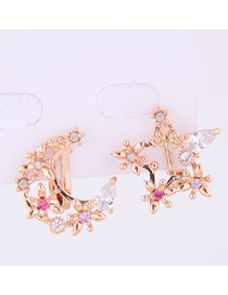 Fashion Gold Copper Micro-inlaid Zircon Star And Moon Asymmetrical Earrings