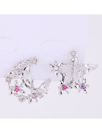 Fashion Silver Copper Micro-inlaid Zircon Star And Moon Asymmetrical Earrings