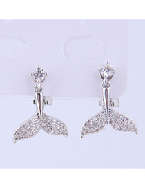 Fashion Silver Copper Micro-inlaid Zircon Fish Tail Earrings