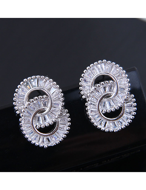 Fashion Silver Copper Micro-inlaid Double-ring Zircon Earrings