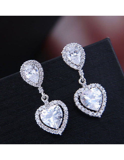 Fashion Silver Copper Micro Inlaid Zircon Sparkling Heart Earrings