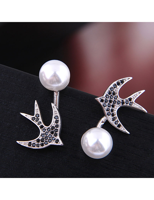 Fashion Silver Copper Micro Inlaid Zircon Swallow Pearl Earrings