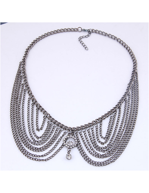 Fashion Gun Black Metal Multi-layer Tassel Collar Necklace