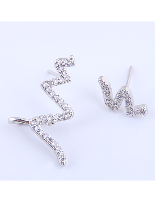 Fashion Silver Compact Flash Drill Ecg Asymmetric Earrings