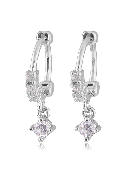 Fashion Silver Shining Zircon Small And Simple Earrings
