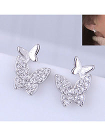 Fashion Silver Copper Plated Gold Glitter Diamond Earrings