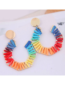 Fashion Color Metal Braided Geometric Stud Earrings