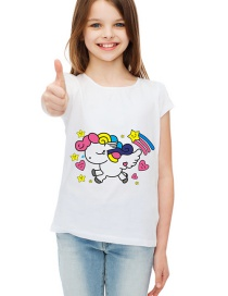 Fashion White Round Neck Cartoon Children's T-shirt