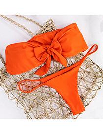 Fashion Orange Bow Chest Pad Gathers Split Swimsuit
