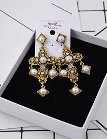 Fashion White Rhinestone Cross Tassel Earrings