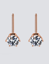 Fashion Rose Gold Zircon Stainless Steel Earrings