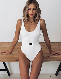 Fashion White Solid Color Belt Buckle One-piece Swimsuit