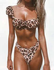 Fashion Leopard Hollow Fly Sleeve Split Swimsuit