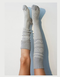 Fashion Gray Knitted Tube Socks Wool Socks