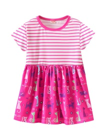 Fashion Rose Red Striped Cartoon Print Children's Dress