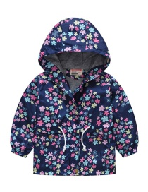 Fashion Blue Snowflake Cartoon Printed Children's Hooded Trench Coat