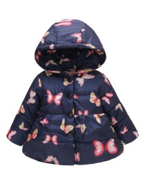 Fashion Blue Butterfly Printed Button Children's Hooded Cotton Suit