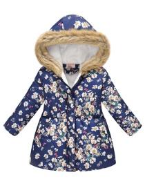 Fashion Nasal Blue Flower Print Cartoon Fur Collar Big Boy Hooded Cotton Coat