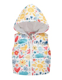Fashion Midi Love Flower Cartoon Hooded Zipper Child Cotton Vest