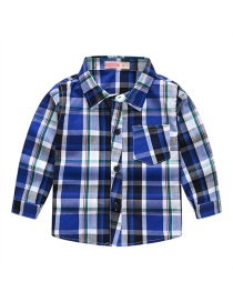 Fashion Dark Blue Plaid Lapel Children's Shirt