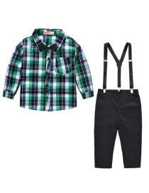 Fashion Green Shirt + Bib Plaid Shirt Cotton Bib Set To Send Bow Tie