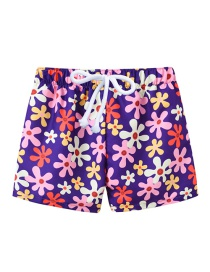Fashion Purple Flower Printed Lace-up Children's Beach Pants