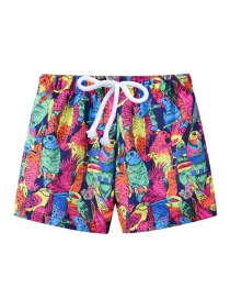 Fashion Colorful Parrot Printed Lace-up Children's Beach Pants