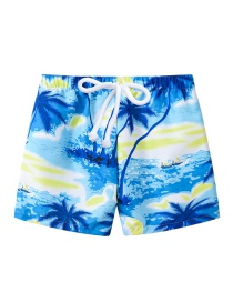 Fashion Dark Blue Coco Printed Lace-up Children's Beach Pants