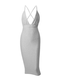 Fashion Silver Halter Gold V-neck Halter Dress