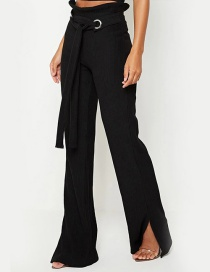 Fashion Black Corduroy Tied Bow Wide Leg Flared Pants